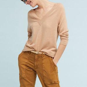 Anthropologie MOTH 100% Merino Wool V-Neck Sweater